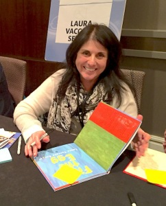 """Picture book author Laura Vagaaro Seeger signing """"First the Egg"""""""