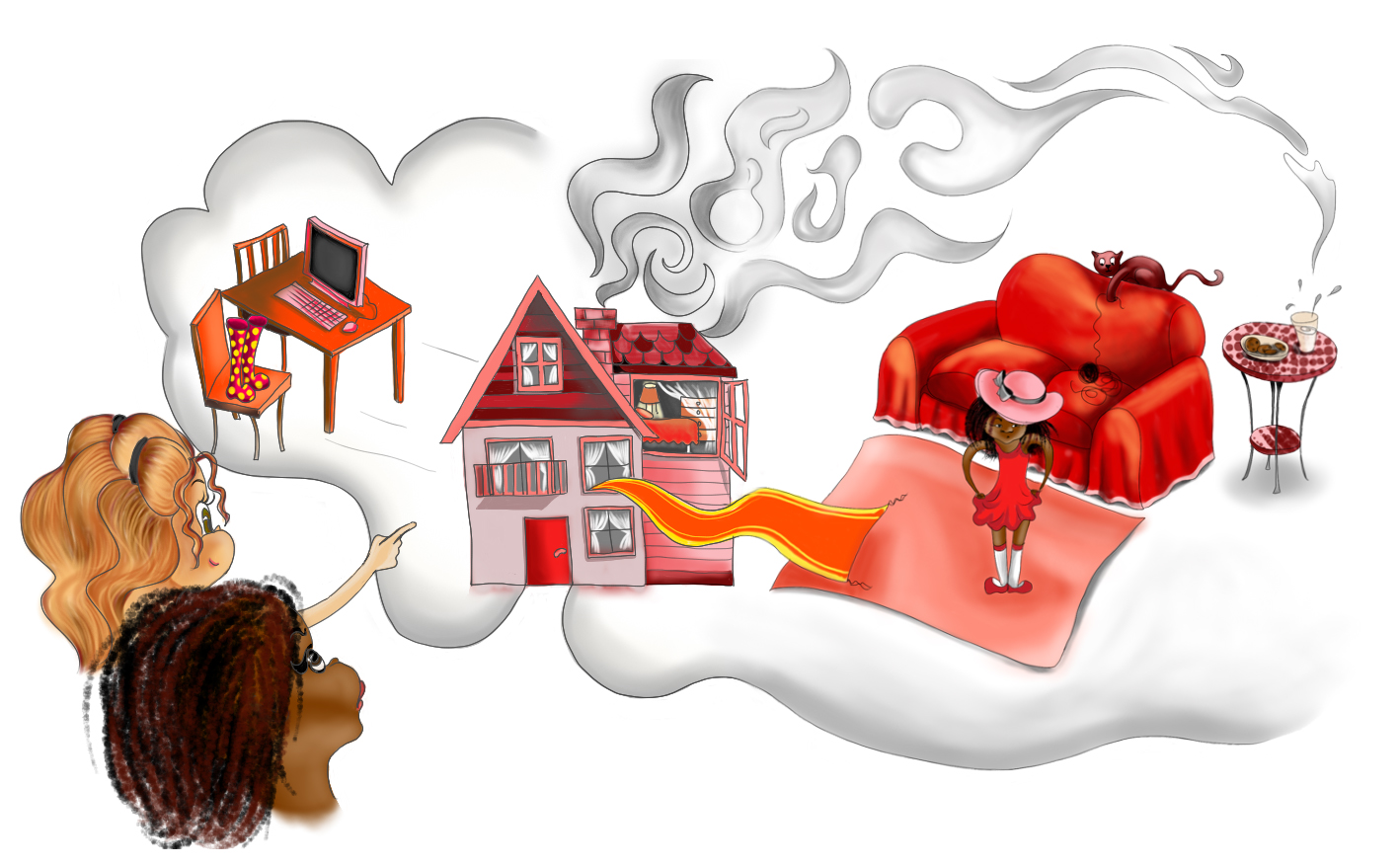 RED RED EVERYWHERE   Digital Book Illustration for Annabelle Please Don't Tell! Book Series