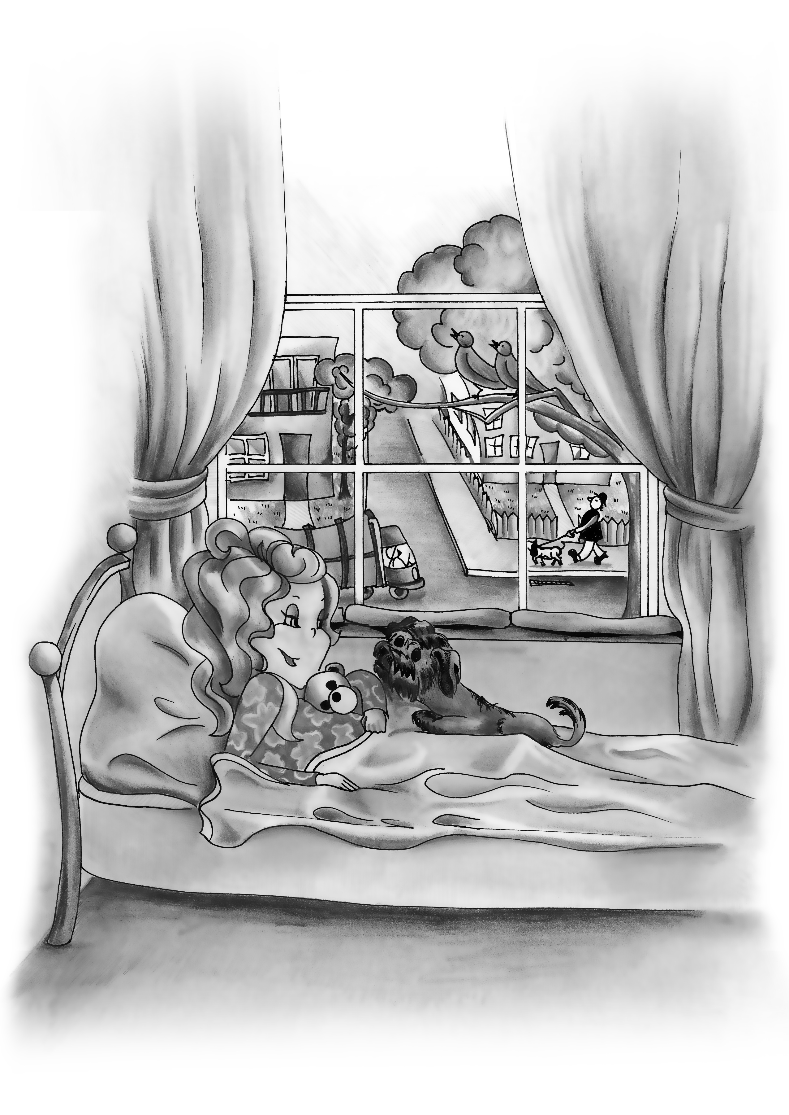 ANNABELLE'S ROOM   Graphite Pencil Book Illustration for Annabelle Please Don't Tell! Book Series