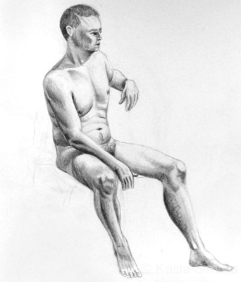 MALE NUDE SITTING | Graphite Pencil drawing from life