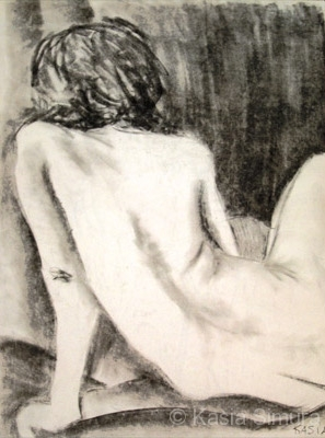 FEMALE NUDE SITTING | Graphite Pencil drawing from life
