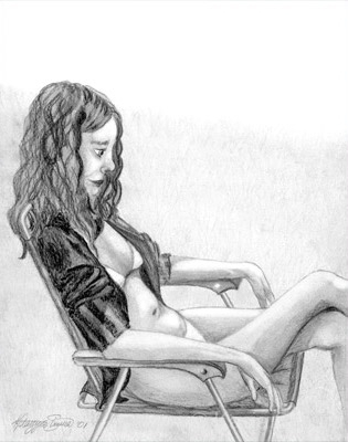 SUNBATHING | Graphite Pencil drawing from life