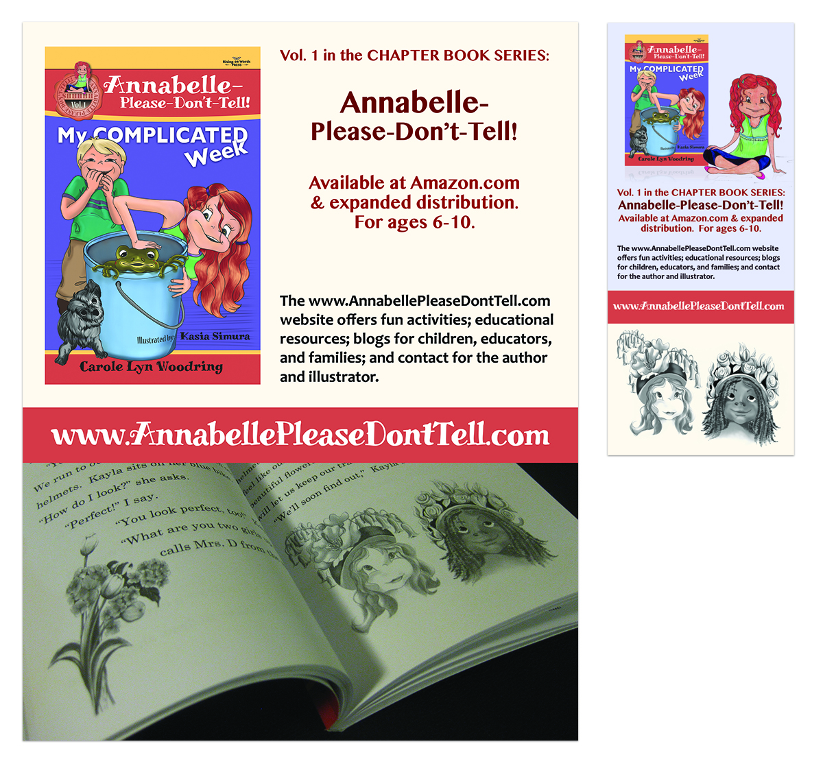 MARKETING FOR BOOK SERIES | Graphic Design, Posters, Bookmarks, and Other Marketing Materials for Annabelle-Please-Don't-Tell! Book Series