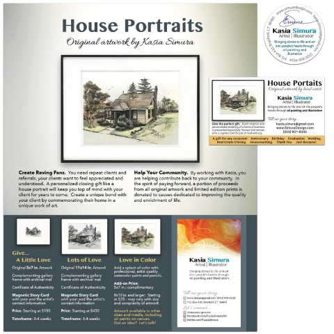 Marketing Material and Personal Branding for House Portrait Artwork
