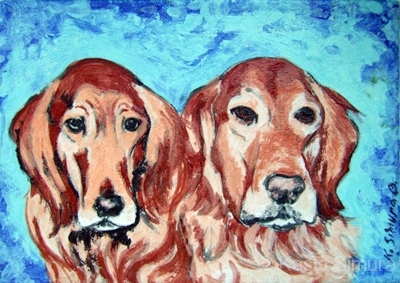 GOLDEN RETRIEVERS | Commissioned Painted Fused Glass