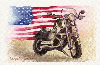 MOTORCYCLE WITH AMERICAN FLAG | Oil Painting on Canvasette
