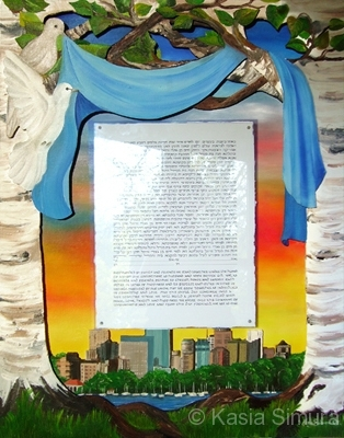 KETUBAH | Layered Oil Painting for a commissioned wedding ketubah
