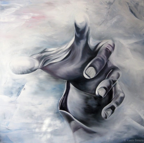 REACHING OUT     Commissioned Oil Painting on Canvas,  52x52in